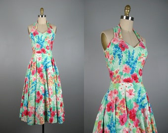 Vintage 1980s Floral Cotton Sundress 80s Full Circle Skirt Halter Pinup Dress by Roberta Size XS