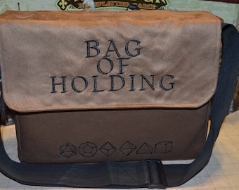 Messenger bag Bag of Holding embroidered Canvas and suede top