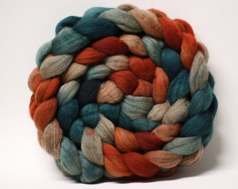 Hand Painted Dyed Merino Wool Roving Combed Top Rust and Emerald