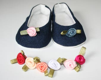18 Inch Doll Shoes,  Handmade, Fabric Mary Jane Style, Slip on