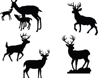Deer Buck Fawn Clipart Silhouettes,  eps dxf pdf png svg Files - Plasma - CNC
