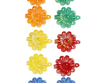 90s Deadstock Floral Hair Clip Set ~ Primary Red Yellow Green Blue, Pastel Pink Purple White