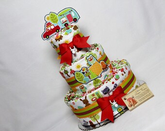 Camping Baby Diaper Cake Glamping Girls Camper Shower Gift Centerpiece