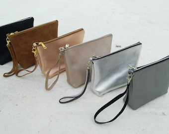 brown leather purce/leather clutch/pouch/small leather bag/bridesmaid gift/cosmetic bag/grey silver /silver/black/ perla/pink gold/brown/