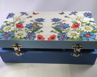Keepsake, Jewellery Box, Blue Meadow design