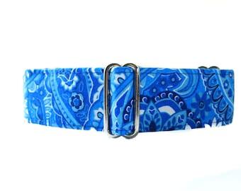 Paisley Martingale Dog Collar, Paisley Dog Collar, Large Dog Collar, 1.5 Inch Martingale Collar, Blue Dog Collar, Blue Paisley