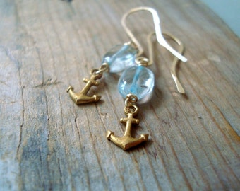 Tiny Gold Anchor Earrings With Aquamarine Nautical Jewelry Charm Jewelry Gold Earrings Beach Weddings Bridesmaid Jewelry Gifts Under 30