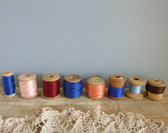 Cotton reels, vintage wooden reels, rainbow of colours, thread reels, spools, x 8