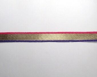 1 Yard Golden, Pink And Royal Blue Sari Border-Bohemian Designs Trims-Crazy Art Fabric Trim For Dresses/Ribbon/Scrapbook Projects