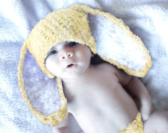 12 to 24m Yellow Baby Bunny Hat, Baby Hat Bunny Ears, Yellow Crochet Bunny Beanie, Rabbit Hat Toddler Photo Prop  , Baby Gift