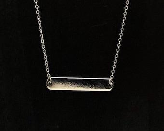 Nameplate Bar Necklace....Bar Necklace........SILVER