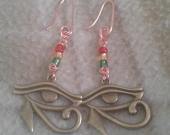 copper Eye of Horus pendant/charm/shaped earrings with red, gold and green beads