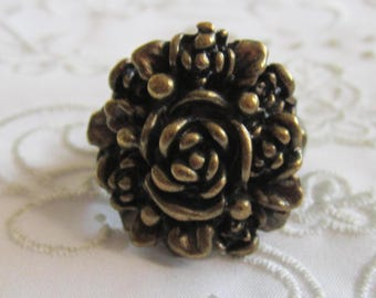 Vintage Dark Brass Large Detailed Flowered Ring