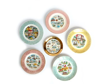 vintage State Plate - your choice SD TN / Souvenir Plates / Pink Mint Green gold / road trip kitsch / South Dakota / Tennessee