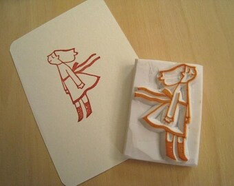 Gentle Breeze - Handcarved Rubber Stamp