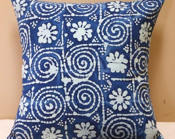 "Cushion Cover, 16"" Square Cushion Cover, Pillow Cover, Throw Pillow Cover, Outdoor Cushion Cover, Batik Style Design, Outdoor Decor"