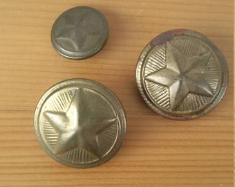 Vintage military buttons Star buttons Bulgarian army 70's Collectibles Souvenir 3 pieces