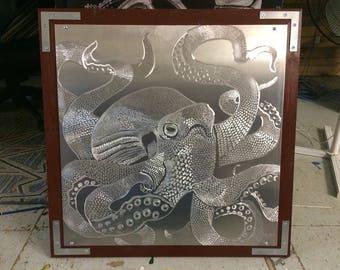 Aluminum Etched Octopus Original Metal Art Squid Sea Creature Tentacle Contemporary Modern Design