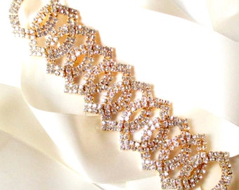 Sash - Rose Gold Wedding Dress Sash - Rhinestone Encrusted Bridal Belt Sash - Crystal Wide Wedding Belt - Pink Gold Belt