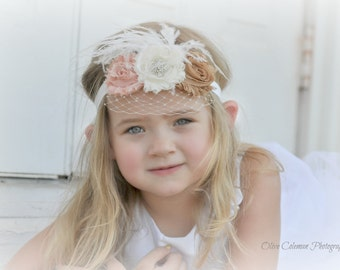 Flower Girl Headband, Shabby Chic Headband, Photo Prop, Veil Headband, Girls Headband, baby veil headband, headband veil