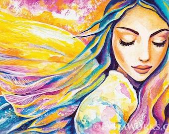 Angel of silence, inspirational art, watercolor painting, spiritual painting, divine feminine, healing art, woman wall print 8x12+
