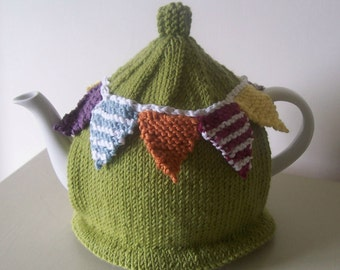 Knitting Pattern for Summer Bunting Tea Cosy
