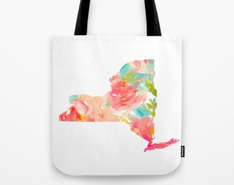 New York Tote New York Map Tote Bag Canvas Tote Floral Tote Gold foil Tote Bag state pride totes NYC travel bag wanderlust tote NY map bag