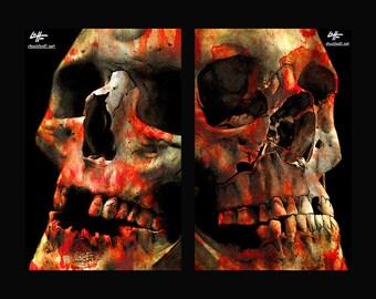 "Prints 11x17"" - 12 & 17 Teeth - Skull Skeleton Dark Art Horror Bones Taxidermy Lowbrow Art Death Dead Gothic Halloween Zombie Monster"