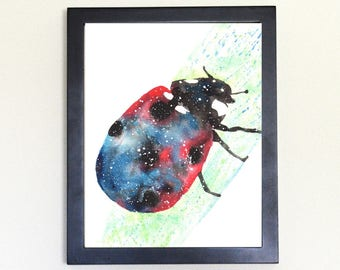Ladybug Spirit Totem Animal Art Print Watercolor 8x10
