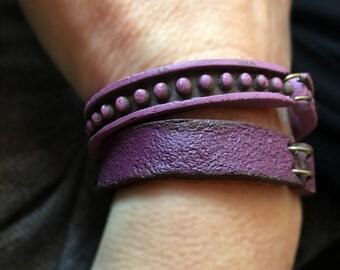 Purple Cuff, Yoga Bracelet, Cool stackable Barcelet, Chakras Colors Series, OM, Plum, FAll Wear, Handmade Bracelet, large size Cuff