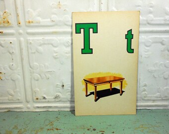 Vintage Large Picture Flashcard, Letter T, Table