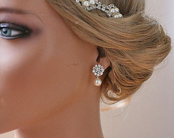 Diamante Pearl Bridal Earrings Pearl Drop Earrings Wedding Jewelry