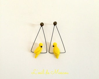 Earrings creator canary yellow bird on wire
