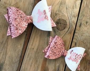 Pink and White Glitter Baby Bow Headband Big Sister Bow Little Sister Bow Glitter Bow Headband Newborn Photography Props
