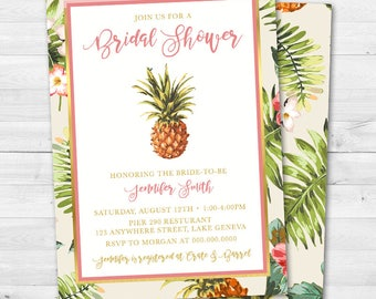 Tropical Floral Pineapple Bridal Shower Invitation