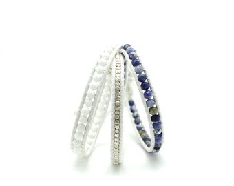 Sodalite Blue and White Sectioned Wrap on White Leather