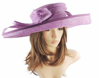 Purple Wide Upturned Sinmay Hat for Kentucky Derby, Weddings, Ascot, Garden Parties