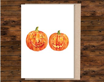 A5 pumpkin card, A5 card, A5 greeting card, illustrated card, blank card, card and envelope