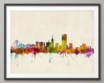 San Francisco Skyline, San Francisco California Cityscape Art Print (454)