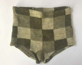 Men's Vintage 40's/50's Green Brown Plaid Wool Knit High Waist Bathing Suit by Reisier of California Westwood Knitting Mills | XS Small