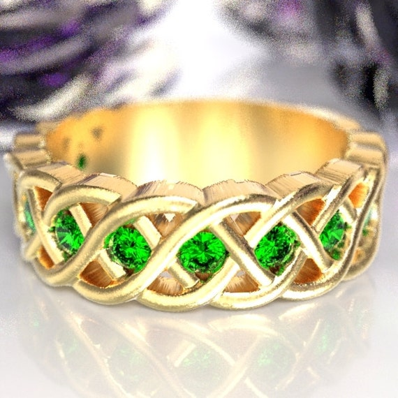 Celtic Wedding Ring with Emerald Stones in 4 Cord Braided Knot Design in 10K 14K 18K or Palladium, Made in Your Size CR-1008