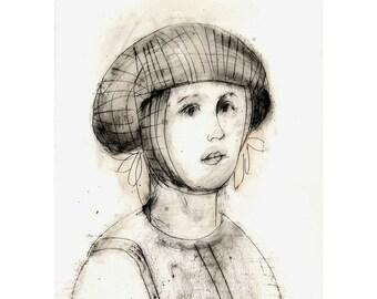 Portrait woman original technique drawing figurative people