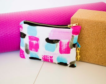 Summer Blur, Digitally Printed Cotton, Patterned, Small, Zip pouch, Make Up Bag, Festival Bag, Casual Day Clutch
