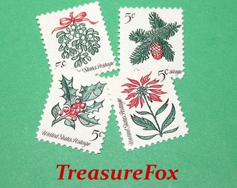 Pack of 20 .. Christmas Botanicals.. 20 Vintage UNused US Postage Stamps | 4 different Christmas Plants together | Christmas Flowers | Xmas
