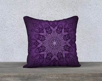 "Purple Mandala 18""x18"" Pillow Case"