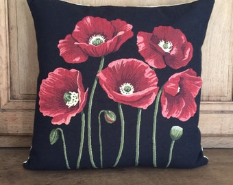 belgian tapestry gobelin throw pillow cushion cover 5 poppies on black background