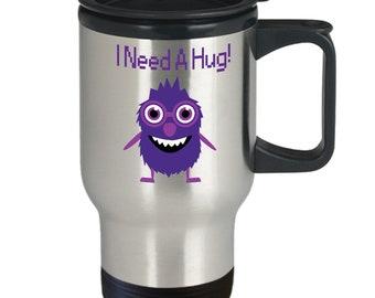 Monster I Need A Hug Travel Mug