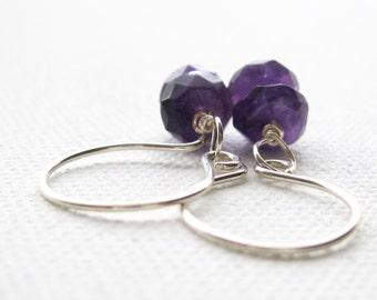 Amethyst Earrings. Sterling Silver Earrings. Faceted Purple Amethyst Earrings. Semi Precious Stone Earrings. Gemstone Earrings. UK Seller