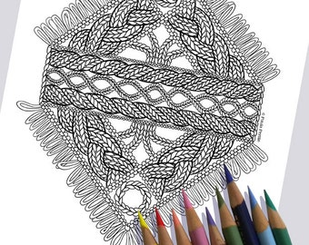 CABLE FRINGE Coloring Page / Printable Coloring Page / Drawing of Knitting / PDF Cable Fringe Knit Art