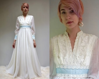 Vintage 70s WEDDING DRESS Long Sleeve Wedding Dress Chiffon Bridal Gown Sheer Wedding Dress Beaded Lace Wedding Dress Boho Wedding Dress